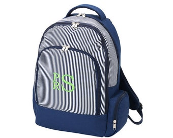 Personalized Backpack - Large Monogrammed Navy Pinstripe Backpack- Durable Monogrammed Backpack - Backpack Personalized FREE