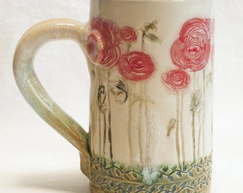 RESERVED for Kathleen ceramic red flower coffee mug 16oz stoneware 16D031