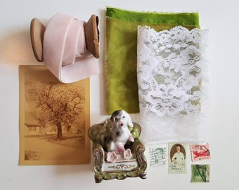 Vintage Photo Styling Prop Kit. Pink and Green. Preppy.  Photo Styling.  Stock Photography.  Vintage Photo Props.  Photography Prop.