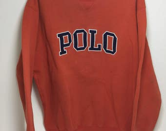 Polo arch spell out crew neck sweatshirt size medium.