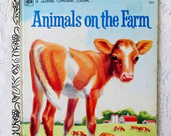 HOLIDAY SALE 20% Off Animals On The Farm, Little Golden Book 1970s Children's Collectible Book