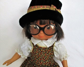 "Spring SALE 50% Off Vintage 1978 My Friend Jenny Doll with Dark Hair, Glasses, Dark Skin by Fisher Price 16"" doll 212"