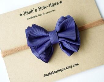 Gathered Hair Bow -Ink Blue- Hair Clip or Nylon Headband