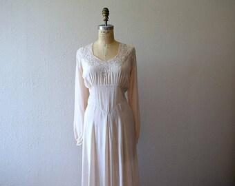 1930s silk nightgown . vintage 30s pale pink lingerie
