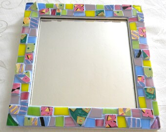 MOSAIC Accent Mirror - Colorful Broken China and  Stained Glass
