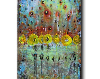 "Art Painting Canvas painting ORIGINAL  ABSTRACT  PAINTING on canvas '' Shimmering Lights""  36''x24'' Acrylic on Canvas"