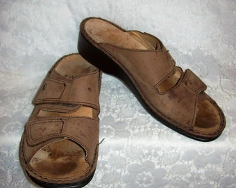 Vintage Brown Leather Sandals by Finn Comfort EU Size 41 Women's Size 10 Only 11 USD