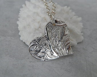 Heart Pendant, Sterling Silver Necklace, Fine Silver Texture Pendant, Handmade Jewelry, Valentine Gift