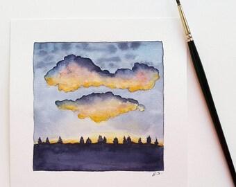 Original watercolor painting Cloudy sunset Small wall decor Sundown evening clouds Minimalist modern wall art