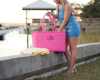 Pink Ultimate Tote - Womens Travel Bag - Monogram Bag - Womens Initials Tote - Initials Large Tote - Womens Ultimate Bag - Bridesmaid Gift