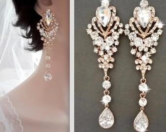 Gold Chandelier earrings, Gold crystal earrings, Gold Statement earrings, Gold wedding earrings, Brides earrings, Long gold earrings, CAMI