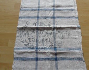 Antique GERMAN grain sack, Linen, Handwoven, Original Printed, Blue striped, Prewashed (clean)