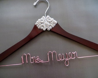 Rose Gold RHINESTONE Wedding Dress Hanger, Crystal Bride Hanger, Mrs Hanger, Wire Name Hanger, Custom Bridal Hanger, Bride Gift, Shower Gift