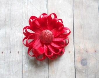 Red Loopy Flower Spring Summer Solid Hair Bow