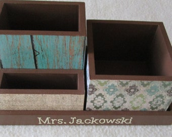 Personalized Desk Organizer - Office or Home Organizer - Pencil Holder Set - Wood Fence, Burlap - Dragonfly- Gift