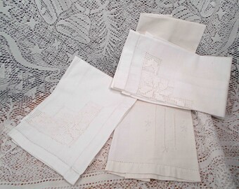 Vintage Hand Towel and 2 Napkins Cut Work Open work White Flower Design