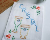 "Vintage Flour Sack Kitchen Towel, ""Crystal"" Hand Embroidery and Cross Stitched"