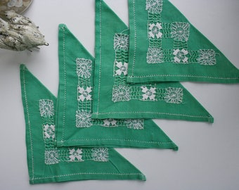 Vintage Drawn Thread Napkins, Pull-Thread Linens, Green with White Hand Stitchery