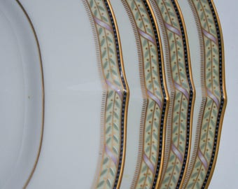 Noritake, Ribbon & Gold, Dinner Plates, Replacement, Set of 4, Like NEW