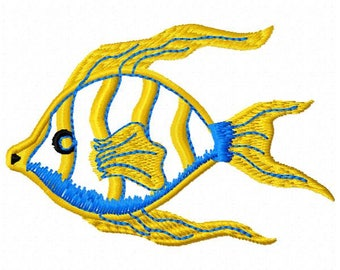 Angel Fish Embroidery Design - Instant Download