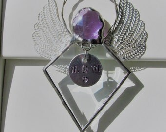 Diamond Angel Crystal Bevel Holiday Ornament - Birthstone Gift Idea - Dainty, elegant, silver filigree wings, Hand Stamped Tag now Available