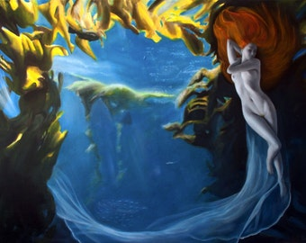 Galatea : Original oil figure painting, Nymph under water