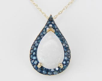 """Fancy Blue Diamond and Opal Halo Pendant Necklace 18"""" 14K Yellow Gold Chain"""