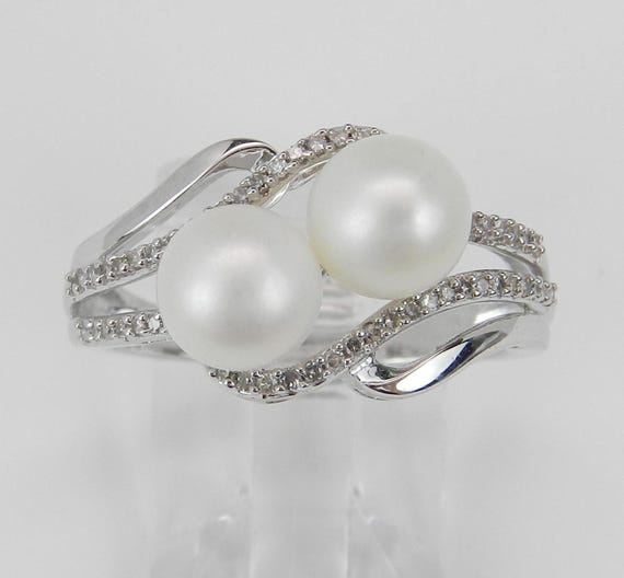 White Gold Diamond and Pearl Ring Cocktail Bypass Size 7 June Birthstone Gem