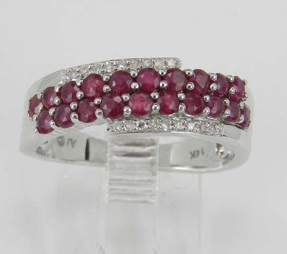 Ruby and Diamond Wedding Ring Anniversary Band 14K White Gold Size 7 July Gem