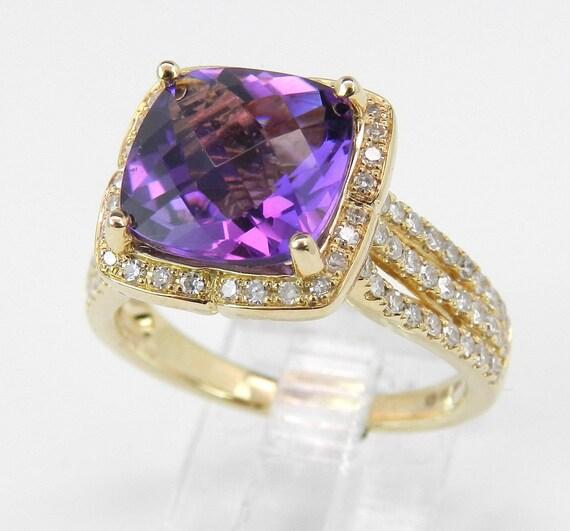 Diamond and Cushion Cut Purple Amethyst Halo Engagement Ring 14K Yellow Gold Size 7