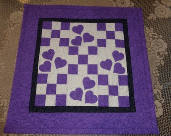 Hearts and Nine patch quilt, Valentine Decor quilt,Lavender and Neutral quilt 0124-02