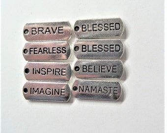 8CT word charms, 20*8mm, Y39A, Brave, Blessed, Fearless, Inspire, Believe, Imagine, Namaste
