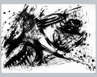 Chaos,Black and White Minimalist Painting,Original Minimalist Painting,Ink Drawing,Abstract Art, Expressionist Art, 22x 30 Paper Sumi e