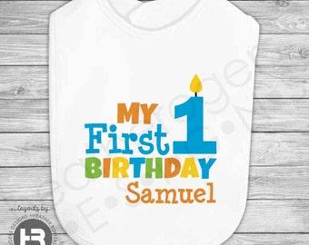 1st Birthday Bib -  Personalized First Birthday Bib - Printed Monogram Bib