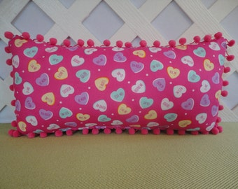 Candy Hearts Valentine Pillow in Candy Pink with Cute Messages / Valentine Pillow / Candy Hearts Pillow / Accent Pillow / Valentine Gift