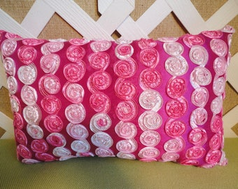 Ribbon Rosettes Pillow in Hot Pink Pale Pink White / Ribbon Pillow / Hot Pink Pillow / Bedroom Pillow / Accent Pillow