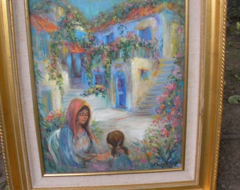 nicely done mid century 1970s artist signed MOTHER and DAUGHTER oil PAINTING on canvas