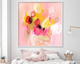 "Abstract floral Painting Print ""Tulips for lunch 4"" Large Wall Art pink and white artwork"