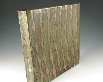 Ceramic Stoneware Wall Art - Bronze and Orange Shino - Pottery Art Box Tile - W013