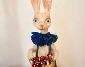 Reserved Spun cotton man rabbit hare with mushroom basket a OOAK vintage craft vignette by jejeMae