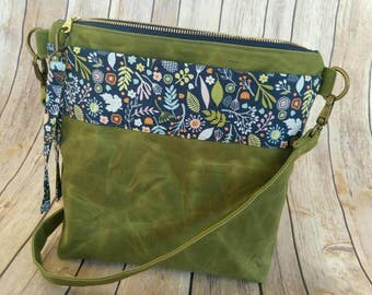 Waxed Canvas Crossbody Bag   Canvas Bag   Custom Design   Made to Order   Pick your own design