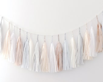 Paper Tassel Garland Banner - Neutral Party Decor / Wedding decor / nursery decor / birthday decorations /fully assembled/ nursery / tassels