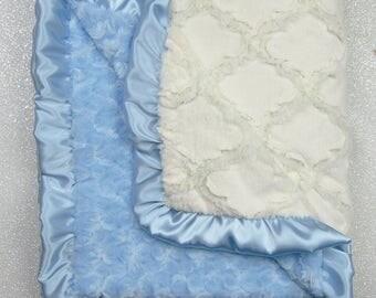 Minky Blanket, Lattice Blanket, Blue and cream blanket, baby boy blanket, baby girl blanket, luxe minky blanket, baptism blanket, baby gift
