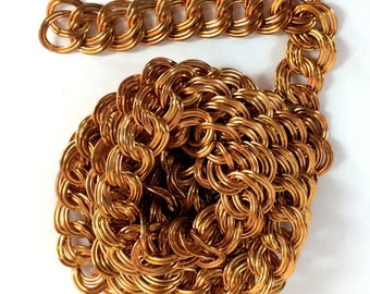 Vintage Chain, Jewelry Chain, Double Link Curb Chain, Red Brass Chain, Patina Brass, Jewelry Making, B'sue Boutiques, 3 + Feet, Item09025