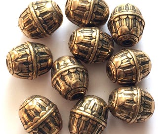 Vintage Metallic Beads, Huge Barrel Beads, Jewelry Making, Vintage Supplies, Antique Gold, Rare, 25 x 21mm, B'sue Boutiques, Item02111
