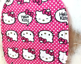 HELLO KITTY Trivet Large OVAL Reversible  Hot Pink White Polka Dot Motif Hot Pink  Fabric Hot Pad Teacher Gift Pollyanna Gift Basket Filler