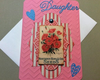 "Handmade, 3-D Daughter Happy Birthday Card, 3-D Embellishment, Chevron Embossed, 5"" x 7"", Sizzix, Blue, Pink, Blue Gem, Butterfly, Hearts"