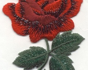 ROSE RED IRON on patch applique