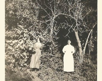"Vintage Snapshot ""Out Of The Woods"" Eerie Ghostly Women Found Vernacular Photo"