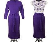 1940s Sweater Dress // Purple and Lurex Soutache Trim Knit Wiggle Dress with Cardigan